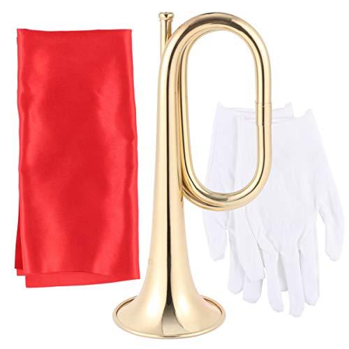 Artibetter Cavalerie Bugel Trompet Koperen Trompet Messing Cavalerie Voor Schoolband Cavalerie Militair Orkest (Trompet + Tas + Rode Doek + Handschoen)
