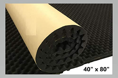 "BookishBunny Self Adhesive Acoustic Foam Egg Crate Panel Studio Foam Wall Panel (40"" x 80"" Black)"
