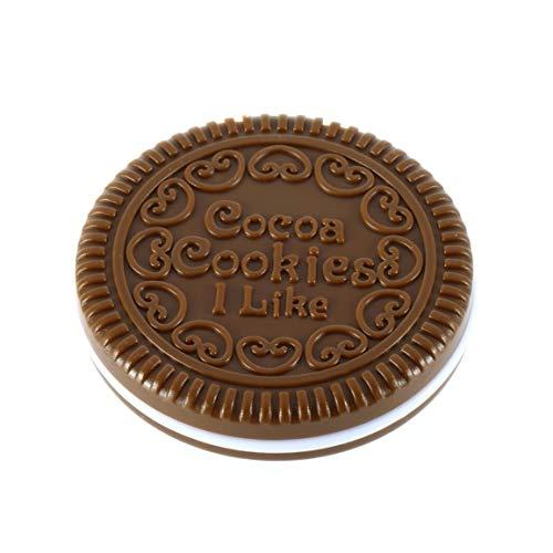 Kurphy - Espejo de maquillaje con forma de galleta de chocolate, diseño de espejo de maquillaje y chocolate