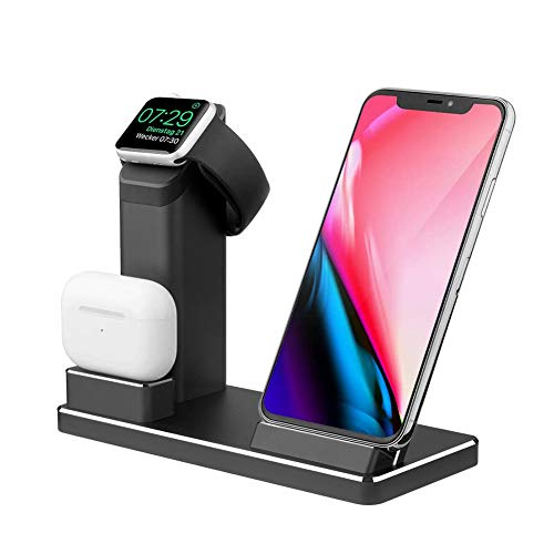 iMoebel 3-in-1 Wireless Charging Stand Aluminium Charger Qi 15W Wireless Charging Station Quick Charging Dock for Apple Watch, AirPods Pro, iPhone 11 Pro Max XR XS 8 Plus and Samsung Galaxy Note Black