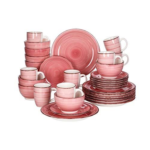WZHZJ Conjunto de Cena de Porcelana de 32 Piezas Conjunto de Placa de cerámica Vintage con Placa de Cena, Placa de Postre, tazón, Conjunto de Tazas
