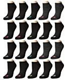 Avia Women's Athletic Performance Cushioned No-Show Low Cut Ankle Socks (20 Pack), Black, Size Shoe Size: 4-10