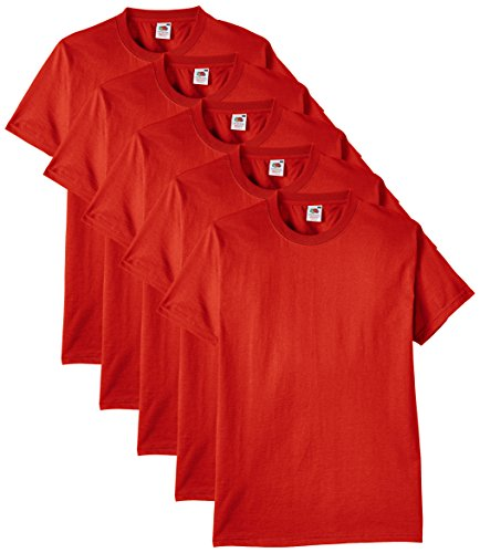 Fruit of the Loom Herren Regular Fit T-Shirt Heavy Cotton Tee Shirt 5 pack, Rot (Red), XXL