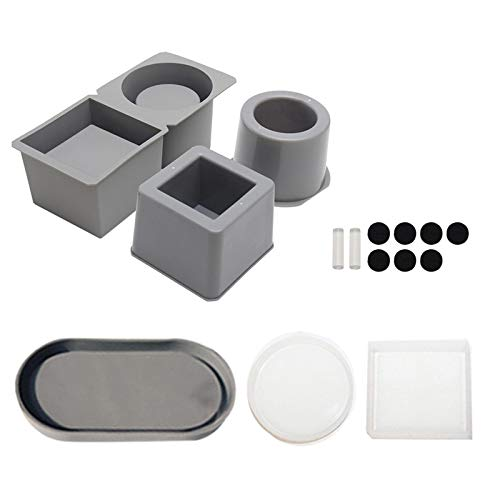 Concrete Silicone Mold,Reusable Square and Round Shape Silicone Concrete Mold,Suitable for Plant Flower Pots Succulent Cement Clay Crafts Mould