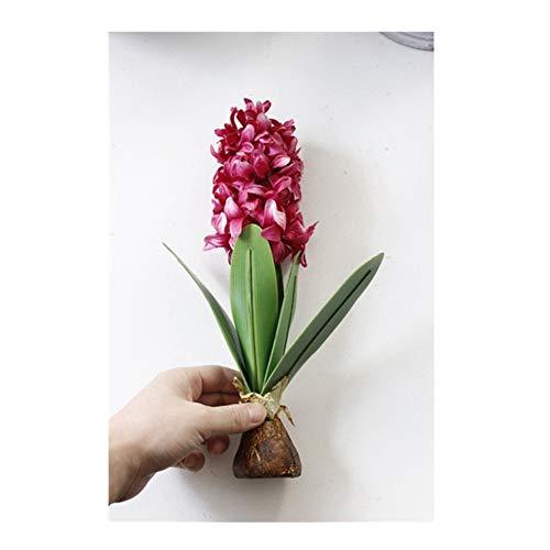 Realista Escena de la Boda de la Flor Artificial del Jacinto con los bulbos Inicio Bonsai en Maceta Decorativa Flores Artificiales Decoración de Navidad diseño Natural (Color : Rose Red)