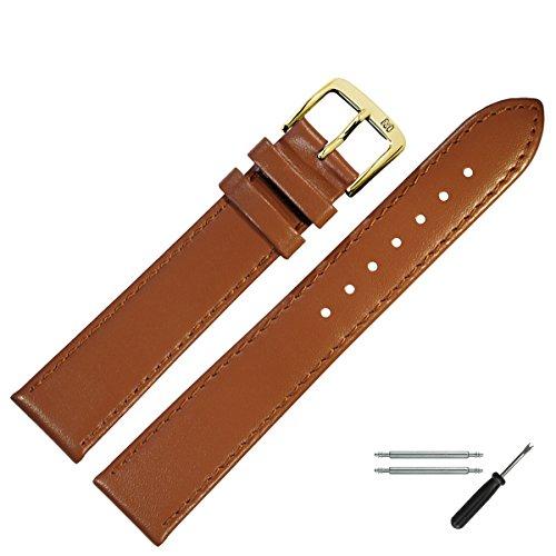 MARBURGER Uhrenarmband 18mm Leder Braun - Werkzeug Montage Set 7591834000220