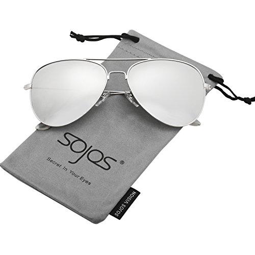 SOJOS Schick Klassische UV Schützen Polarisiert Sonnenbrille Herren SJ1054 mit Silber Rahmen/Silber Linse