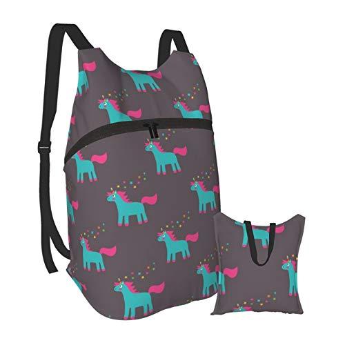 cute cartoon unicorn Outdoor Foldable Travel Backpack Durable Bookbag