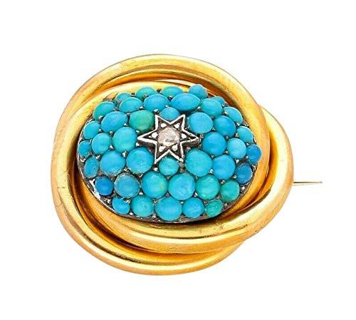 Brosche Trauer 18 Karat Gelbgold Türkis Diamant 20 x 22 mm