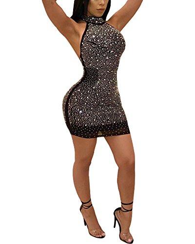 Aro Lora Women's Sexy Studded Hollow Out High Neck Bodycon Mini Club Dress