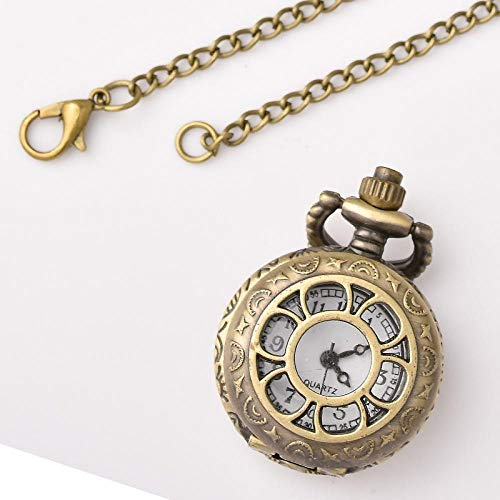 Nwarmsouth Cuarzo Colgando Reloj de Bolsillo,Reloj de Bolsillo con Collar Vintage, Reloj de Bolsillo con Forma de Concha Hueca para Estudiantes-2,Reloj de Enfermera Resistente