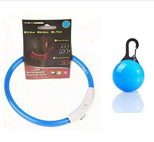Collar Perro Collar de Seguridad LED Recargable Ultra Luminoso para su Mascota batería de Litio Mayor Visibilidad y Seguridad Talla única para Todos los Perros y Gatos (Azul) más Colgante LED