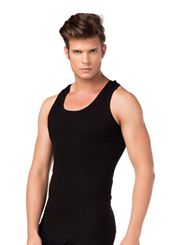 stylenmore 4-delige set heren tanktops fijnribt-onderhemden zwart 100% puur katoen okselshirt ondergoed oversized