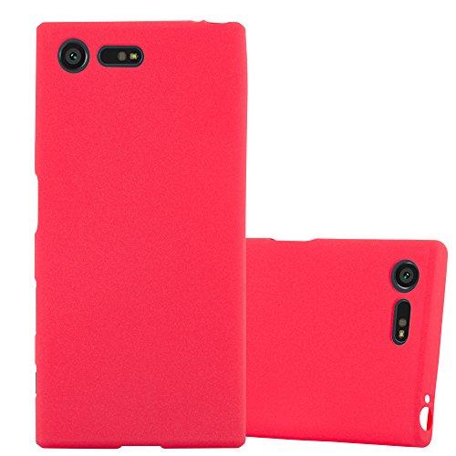 Cadorabo Funda para Sony Xperia X Compact en Frost Rojo - Cubierta Proteccíon de Silicona TPU Delgada e Flexible con Antichoque - Gel Case Cover Carcasa Ligera