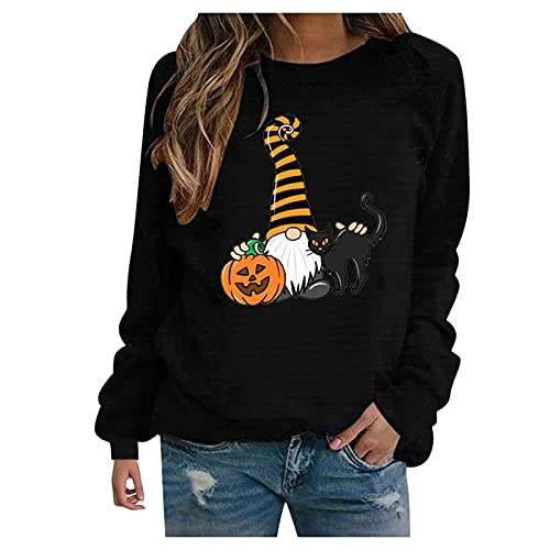 Camisetas Halloween Mujer de Manga Larga Talla Grande Cuello Redondo, Sudadera Tops Blusas con Estampado de Halloween Retro Pullover Suelto Camisetas Básicas Camisas E-Girl 90s (S01, XL)