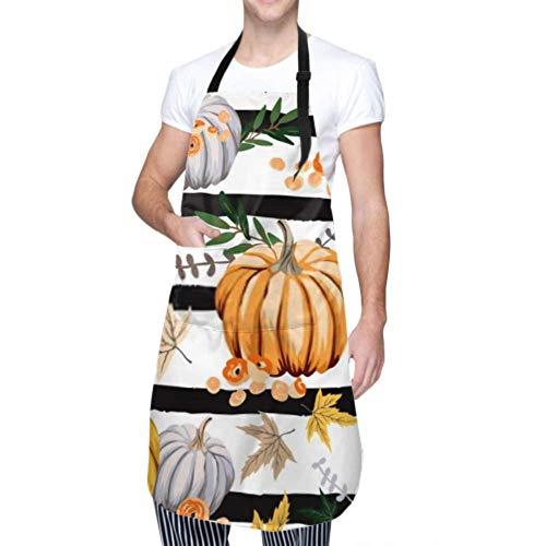 ZANSENG Unisex Schürze, wasserdicht langlebig verstellbar Herbst Orange Kürbisse Blumen Blätter gestreifte Kochschürzen Küchenschürze zum Geschirrspülen Grill Grill Restaurant Garten