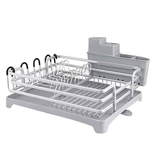 Escurridor de Platos Soportes para Platos Escurreplatos de Aluminio con Bandeja de Gota Extraíble Escurreplatos de Cocina (Plata, 1 Nivel)
