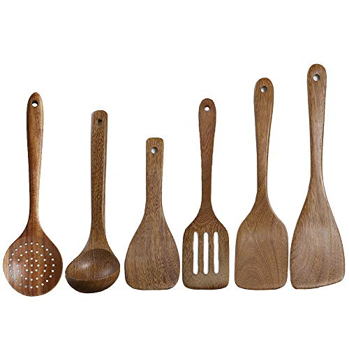 6 Pcs Best Wooden Kitchen Utensils Set-Wooden Spatula, Cooking Ladle, Turner Paddle, Slotted Spoon, Angled Spatula Paddle, Cooking Stuff -Wood Nonstick Pan Cookware Tools