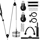 XonyiCos Fitness Cable Pulley System, Gym LAT and Lift Pulldown Machine Attachments, Home Workouts Equipments for Biceps Triceps Shoulder Arm Curl Forearm Muscle Strength Exercise