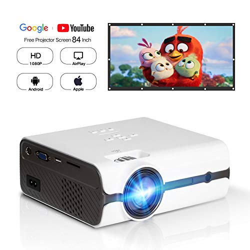 HD 1080P Video Projector with Portable Screen 84' for Indoor Outdoor Use, Home Theater Projector Support USB SD Card VGA AV for Home Cinema TV Laptop Game Smartphone