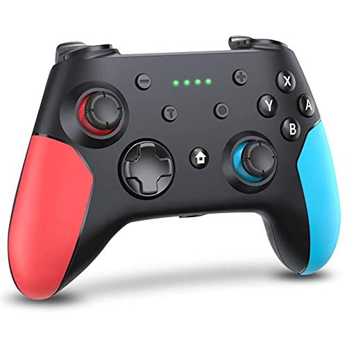 ML S HJDY Gamepad inalámbrico Bluetooth, Joystick Que admite vibración Dual y función de giroscopio, Adecuado para Switch Host y Windows XP / 7/8/10,Left Red Right Blue