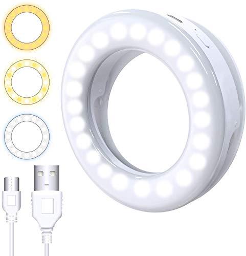 Charmingwater Selfie Licht Ringleuchte LED-Licht mit 3 Einstellbare Helligkeiten, USB Wiederaufladbar Ringlicht für iPhone X Xr Xs Max 7 8 Plus 11 Pro Android iPad Laptop