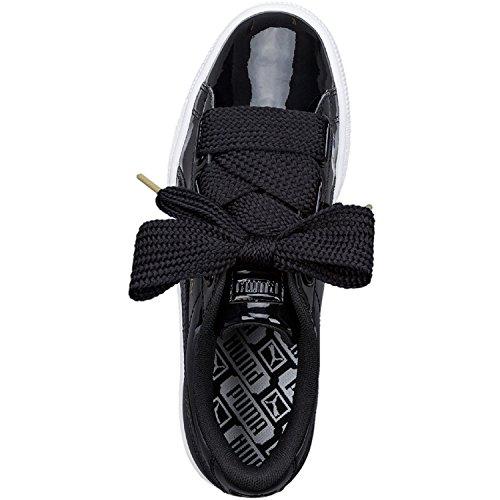 Puma Basket Heart Patent Low-Top Sneaker, Schwarz - 6