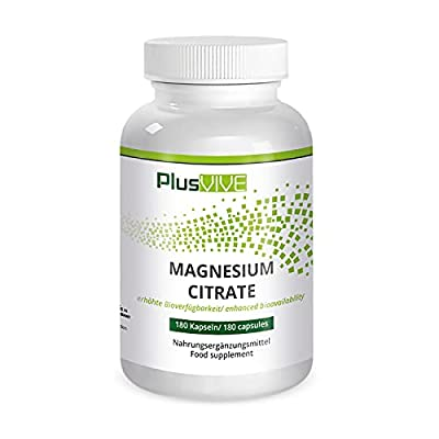 Plusvive High Strength Magnesium Citrate 180 Capsules, Free of Gluten, Lactose, Gelatin, Sugar, and Unwanted Additives - High Absorption Magnesium Supplements for Sleep and Muscle Pain Relief