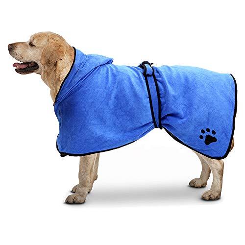 TFENG Mikrofaser Hunde Bademantel, Schnelltrocknende Wasserabweisende Hundebademantel, Weiche Trocknen Handtuch Badetuch für Katzen (Blau, Größe XS)