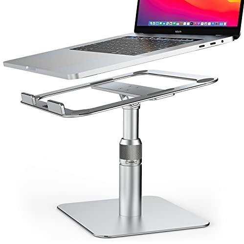 Swivel Laptop Stand,Adjustable Height Laptop Riser [360° Rotating] Ergonomic Computer Stand Notebook Holder for Desk Compatible with MacBook/Air/Pro/Dell XPS/HP/All10'-17.3'laptops/All Tablets(Silver)