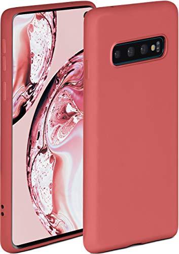 ONEFLOW Soft Hülle kompatibel mit Samsung Galaxy S10 Hülle aus Silikon, erhöhte Kante für Displayschutz, zweilagig, weiche Handyhülle - matt Rot