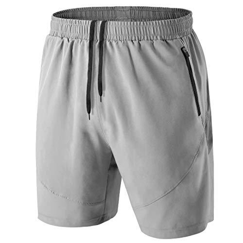 Pantalones Cortos Hombre Running Transpirable Shorts Deportivos Secado Rápido Pantalón Correr con Bolsillo con Cremallera(Gris Claro,EU-XL/US-L)
