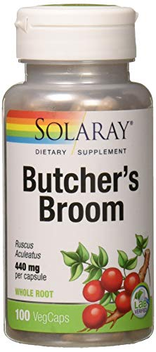 Solaray Butcher's Broom Capsules, 440 mg, 100 Count