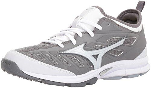 Mizuno Men's Players Trainer 2 Turf Baseball-Shoes,Grey/White,10.5 D US
