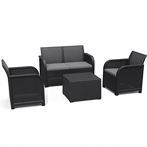 Keter Rosalie Garden Furniture Set 4 Seater - Grey with Grey Cushions - 2 Seater Sofa 2 Chairs and Table