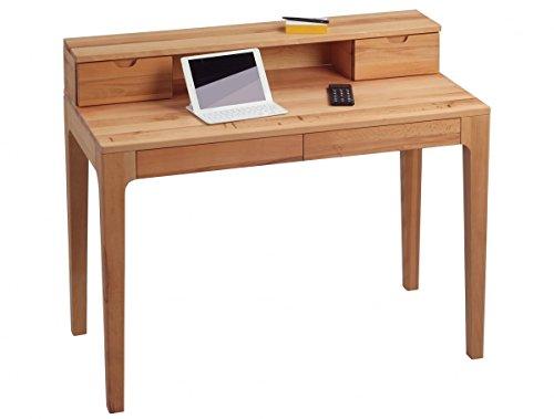 Dreams4Home Schreibtisch 'Edisto' Holz Massiv Kernbuche Bürotisch Tisch Sekretär Schminktisch 110 x 96 cm