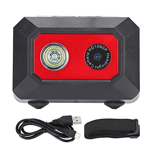 Garsentx Videocamera D'azione 1080P, Mini Videocamera Sportiva HD con Faro LED e Fascia Alta Elastica, Videocamera Sportiva Subacquea da 98 Piedi, Telecomando e Kit di Accessori di Montaggio(Rosso)