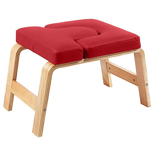 Fantastic Deal! LXLA Headstand Bench with PU Thick Cushion, Wooden Inversion Bench for Balance Train...