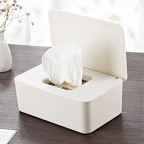 Caja de almacenamiento de toallitas húmedas, dispensador de toallitas para pañales para bebés que mantiene las toallitas frescas, con tapa a prueba de polvo,para hogar viajes oficina