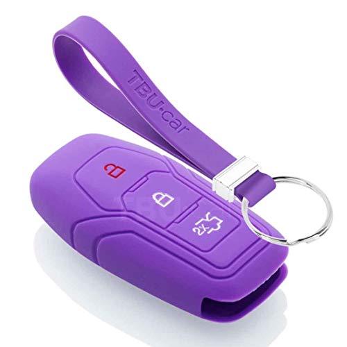 TBU car Funda Carcasa Llave Compatible con Ford - Funda de Silicona - Cover de Llave Coche - Violeta