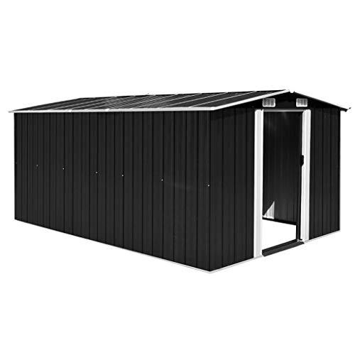 Caseta de Jardín Al Aire Libre Cobertizo de Acero galvanizado Antracita con Adornos blanquecinos con 4 ventilaciones 257x398x178 cm