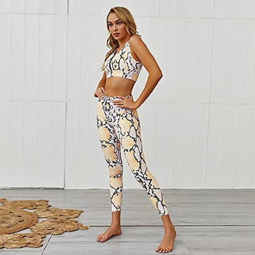 ML S HJDY Conjunto de yoga para mujer, pantalones deportivos, sujetador y gimnasio, pantalones cortos, cintura alta, pantalones deportivos, color amarillo, S