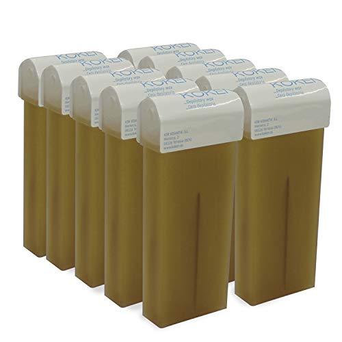 KOKEN - Cera Depilatoria Roll-on 100ml Universal - Pack 10 Cartuchos Oro (Resinas 100% Españolas)
