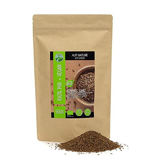 Cumino biologico intero (500g), semi di cumino crudo qualità food da coltivazione biologica controllata, semi di cumino senza glutine, senza lattosio, testati in laboratorio, vegani