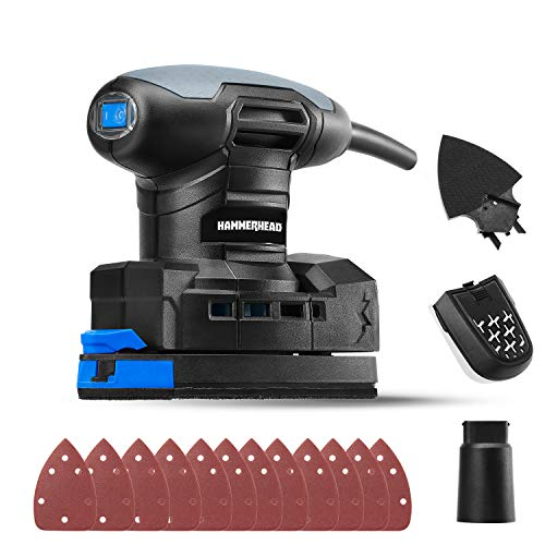 Hammerhead 1.4-Amp Multi-Function Detail Sander with 12pcs Sandpaper, Dust Collection System, and Detail Attachment - HADS014