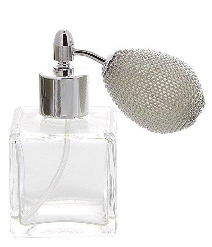 Zerstäuber für Parfüm, Kosmetex Flacon mit Ballpumpe Eckiger Pumpzerstäuber für Parfüm etc, 1 x silber