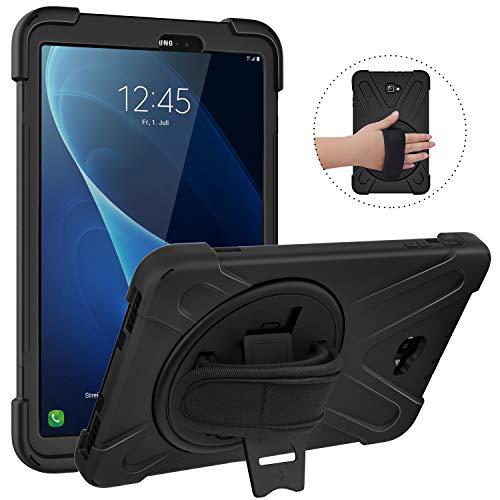 MoKo Funda para Samsung Galaxy Tab A 10.1, Protección Antivibración Funda Resistente con Soporte Giratorio de 360 Grados y Correa de Mano - Negro
