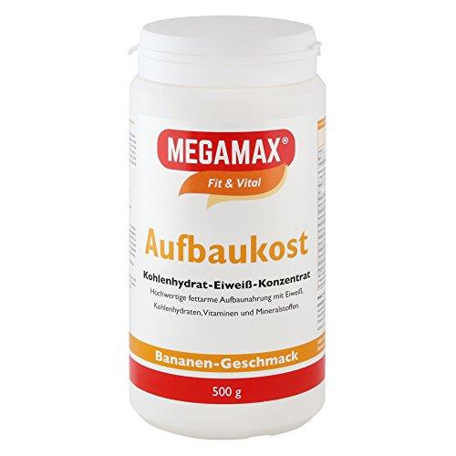 MEGAMAX - Aufbaukost - Suplemento para Ganar Peso y Masa Muscular - Plátano - Solo un 0,5% de Grasa - 500 g