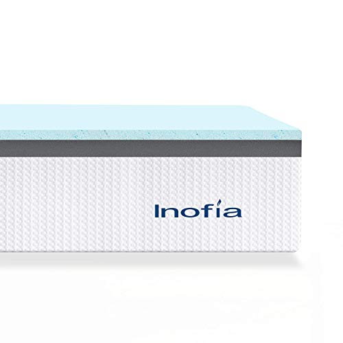 Inofia Double Mattress Topper Memory Foam, 2 CM Cooling Gel Memory Foam + 3 CM Charcoal Support Foam, 2 Layer Bed Topper for Pressure Relief, CertiPUR-US, 100-Night Home Trial (135x190cm)