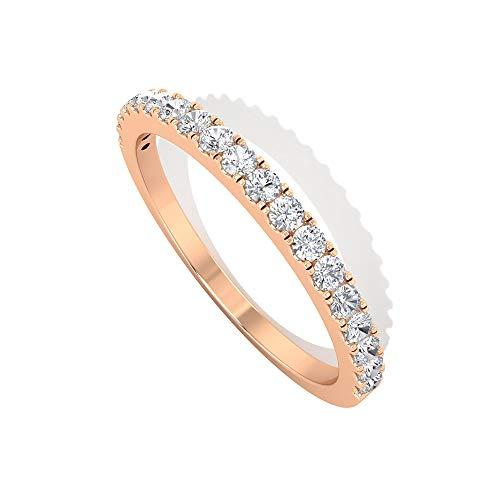 Anillo de boda de media eternidad, anillo de oro macizo, anillos 1/4 CT, D-VSSI moissanite anillos apilables para mujeres, 14K Oro rosa, Size:EU 55